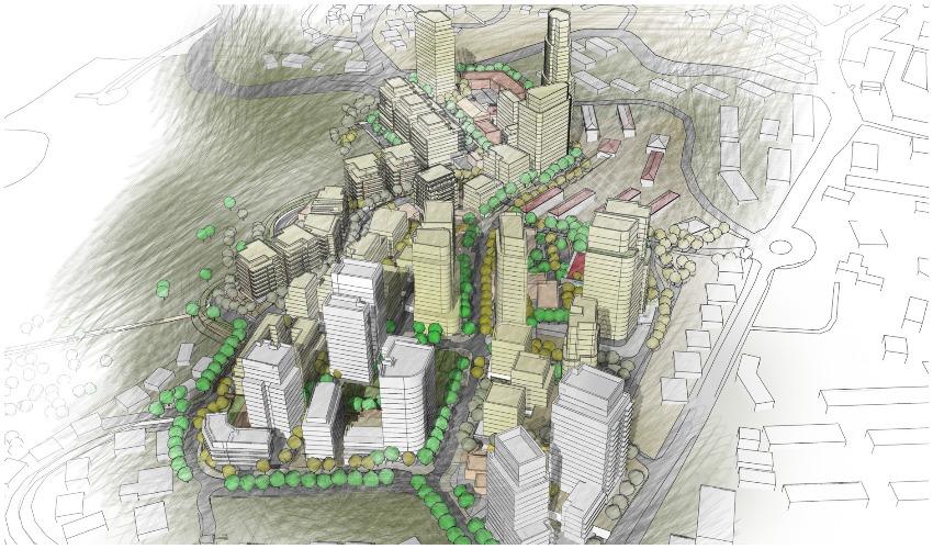 הדמיית פרויקט התחדשות עירונית במרכז בית שמש (צילום הדמיה: משרד אדריכלים עדן בר)