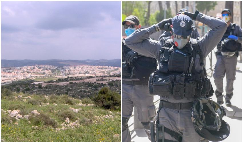 שוטרים ממוגנים מפני נגיף הקורונה, רמת בית שמש (צילומים: דוברות המשטרה, צביקי ולדמן-מתוך ויקיפדיה)