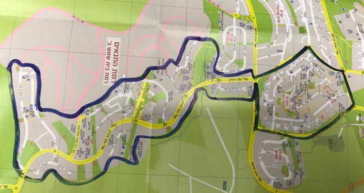 מפת הגבלות התנועה בבית שמש לפי רחובות (צילום: דוברות העירייה)
