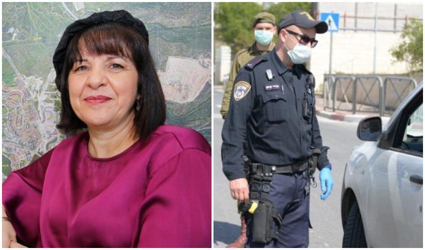שוטרים אוכפים את הסגר, ראש העיר עליזה בלוך (צילומים: דוברות המשטרה, גיל כהן-מגן)