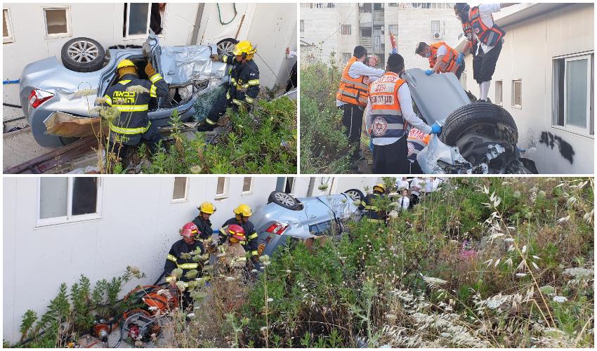 חילוץ הנהג שהתדרדר לוואדי בשכונת חפציבה צילומים כבאות והצלה בית שמש, תיעוד מבצעי מדא