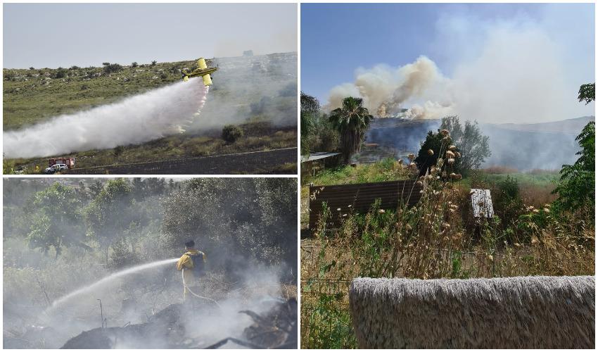 השריפה בסמוך לכפר אוריה (צילומים: כבאות והצלה)