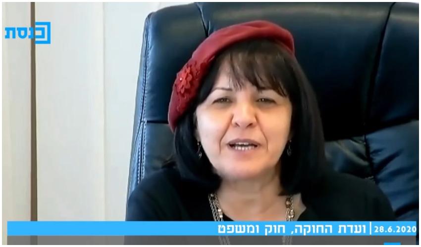 עליזה בלוך בדיון בוועדת חוקה, חוק ומשפט בכנסת (צילום מסך מתוך ערוץ הכנסת)