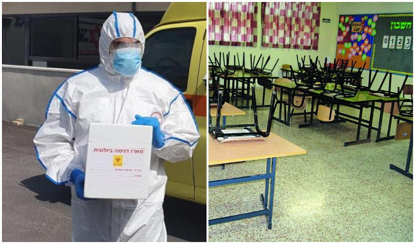 """כיתה ריקה, פראמדיק של מד""""א עם בדיקות קורונה (צילומים: רינת אברג'יל, תיעוד מבצעי מד""""א)"""
