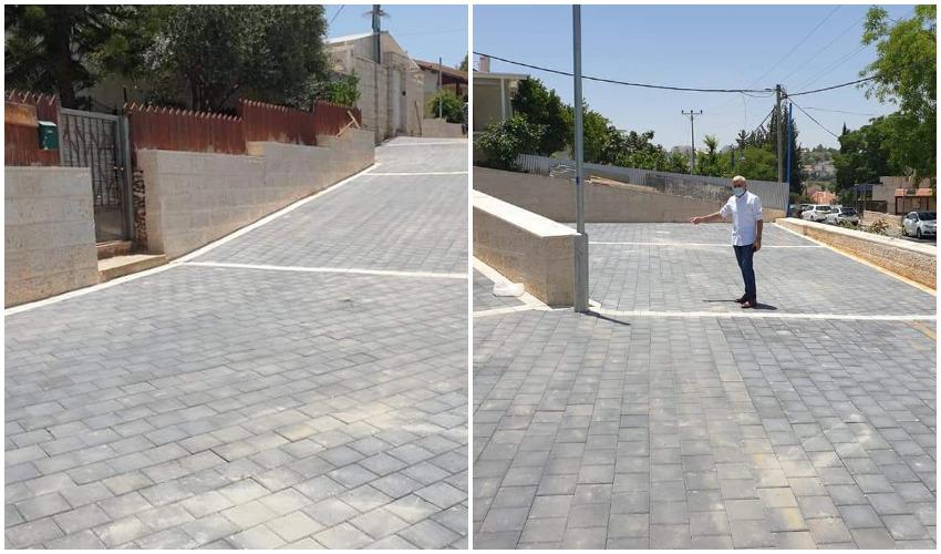 שלום אדרי ברחוב עמק הזיתים המשודרג (צילומים: עיריית בית שמש)