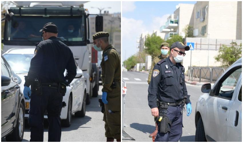 שוטרים אוכפים סגר (צילומים: דוברות המשטרה)