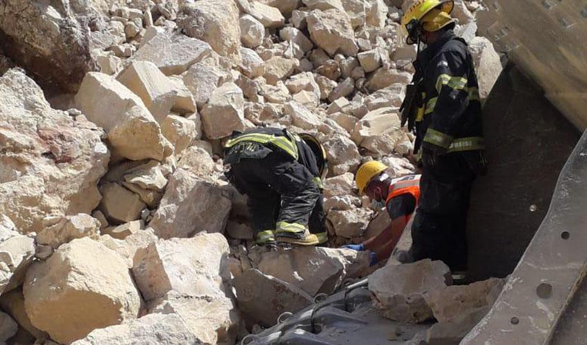 זירת התאונה הטראגית - במחצבה הסמוכה לבית שמש (צילום: דוברות כבאות והצלה בית שמש)