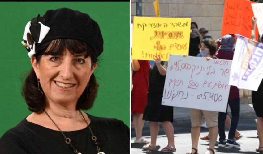 מחאת העובדים הסוציאליים בירושלים, סגנית ראש העיר רינת הולנדר (צילומים: אוהד צויגנברג, נחשון פיליפסון)