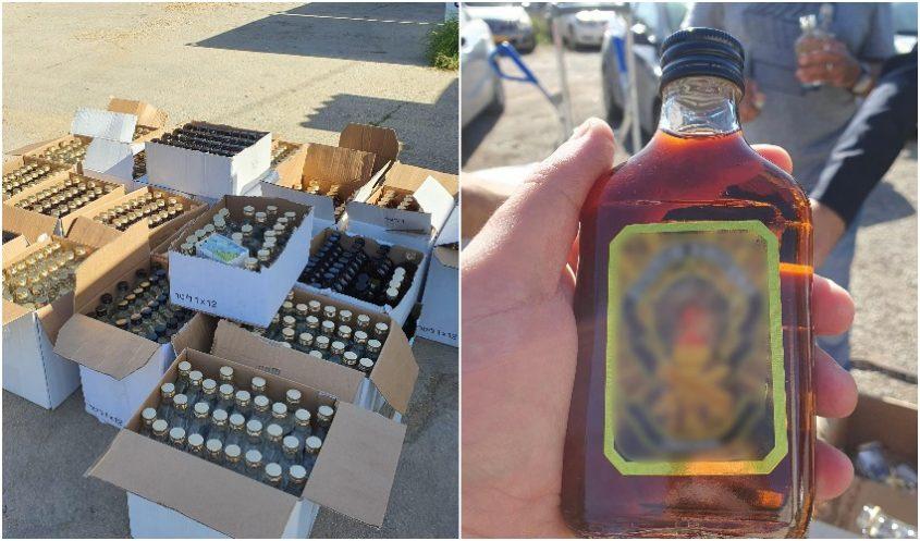 תפיסת האלכוהול המזויף בבית שמש (צילומים: דוברות המשטרה)